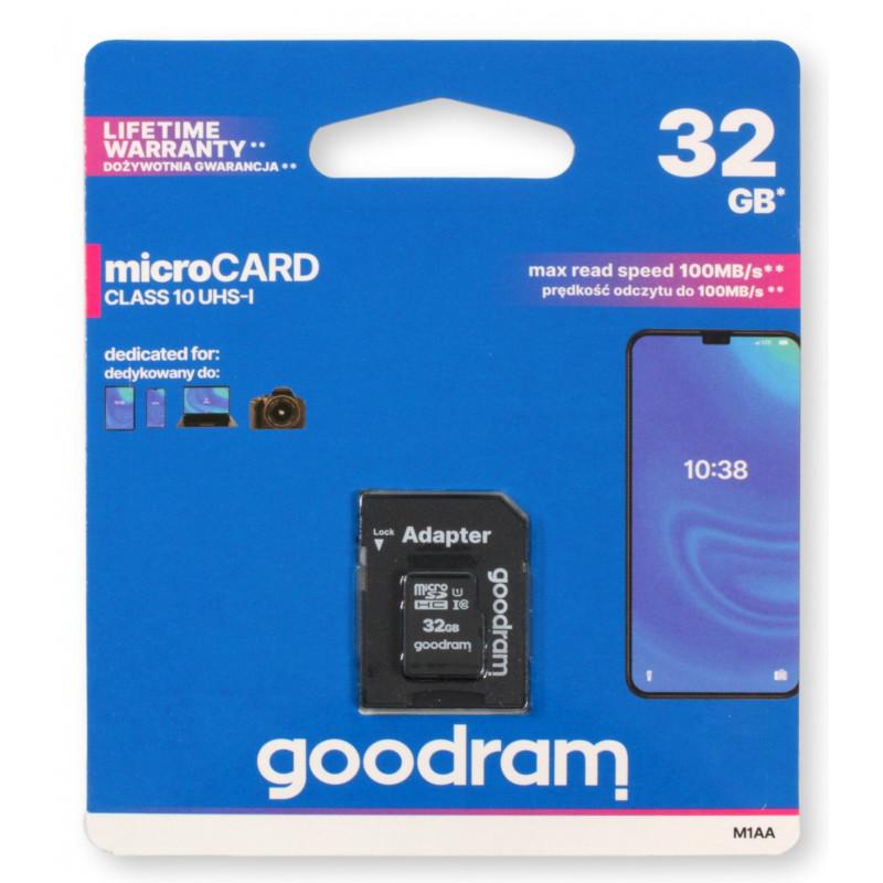 GOODRAM microSDHC 32GB Class 10 100 MB/s read max