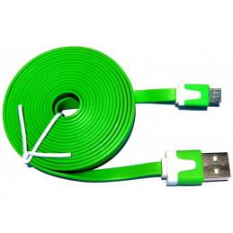 Kabel microUSB 2m płaski - zielony