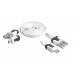 Kabel microUSB 1m płaski - biały