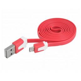 Kabel microUSB 1m płaski - czerwony
