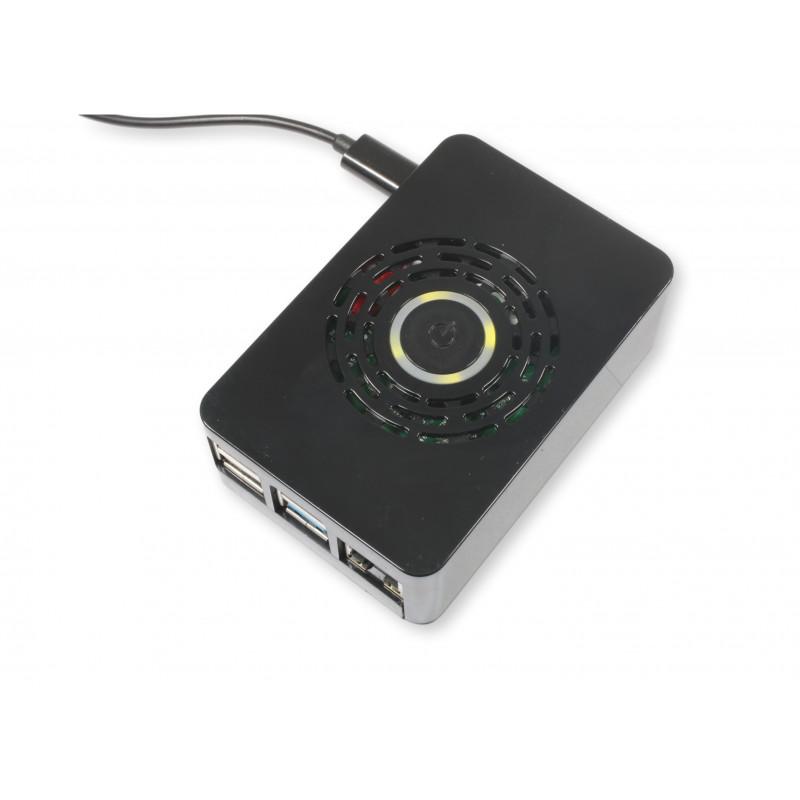 Rpi4 obudowa plastikowa MC1 czarna PZ przycisk zasilania opcja went.