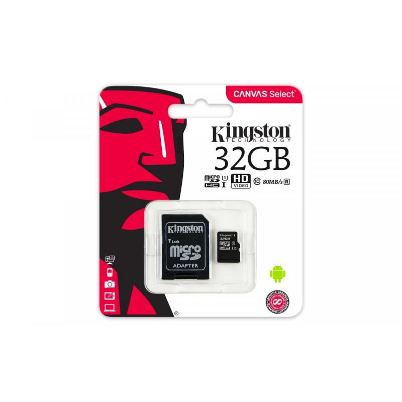 KINGSTON microSD 32GB Class10 80/10MB/s CANVAS select