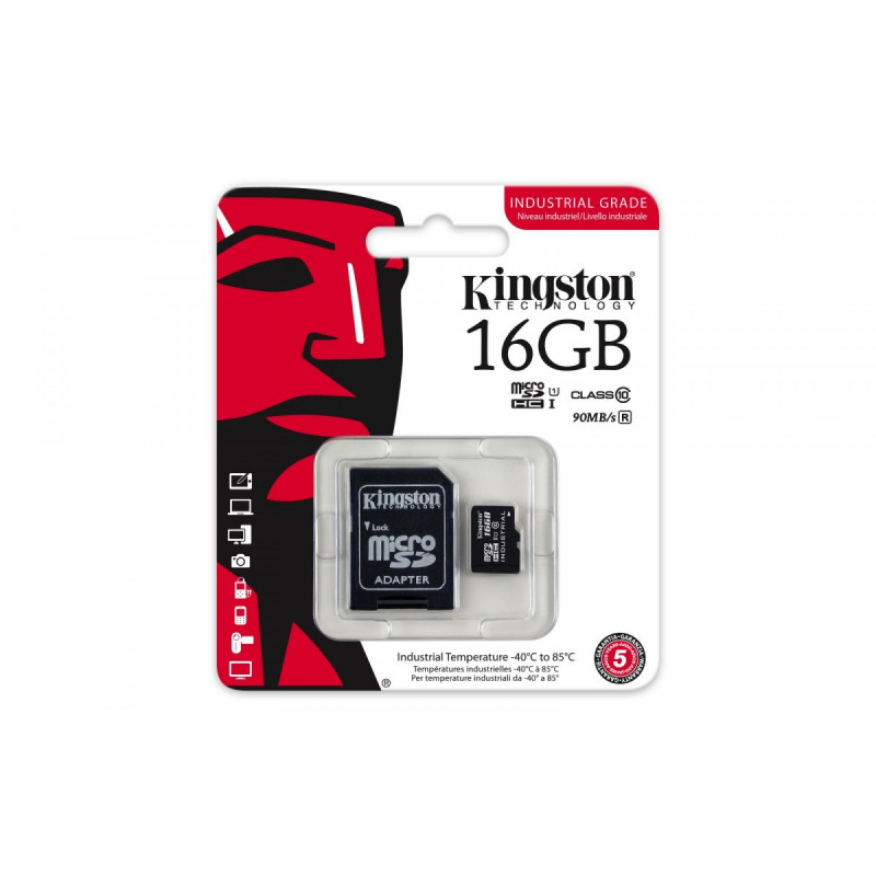 KINGSTON microSD 16GB CL10 UHS-1 90/45MB/s Industrial